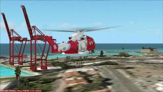 FSX U.S.Coast Guard Agusta Wesland EH-101 landing in Martinique