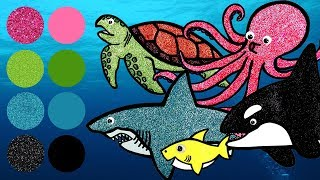 Sea Animals for Kids, Learn Names and Sounds | Great White Shark, Killer Whale, Sea Turtle, Octopus