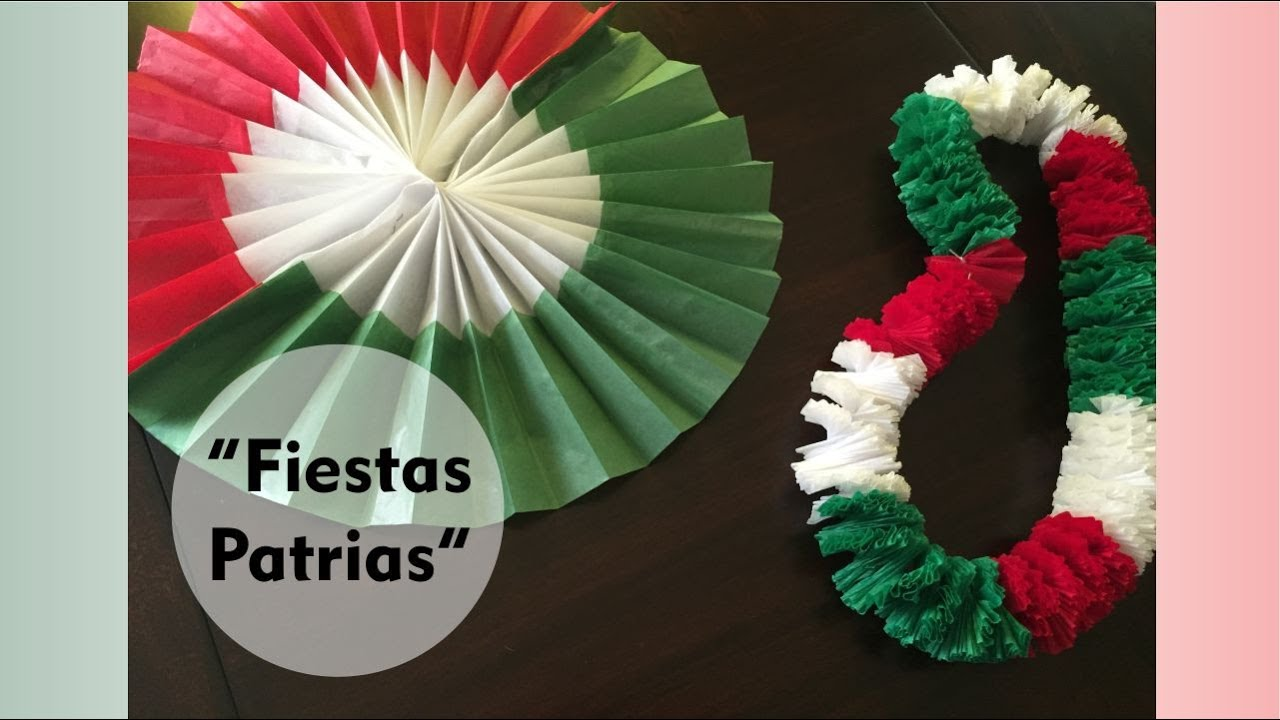 Decoraciones para las fiestas patrias roseta tricolor y for Decoracion de papel crepe