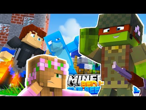 TINY TURTLE DESTROYS OUR BASE - Minecraft Bed Wars w/ Little Kelly and Sharky