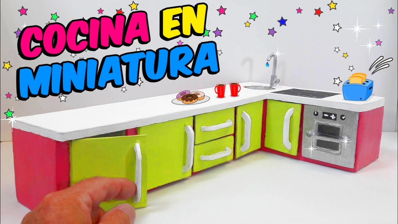 Diy cocina en miniatura para barbies hecha con cart n for Cocinas armables