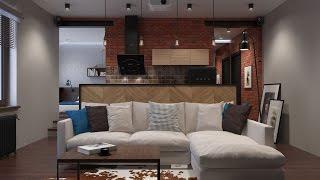 Дизайн квартиры площадью 43 кв.м. в стиле лофт / World of Houses(, 2016-10-29T23:15:49.000Z)