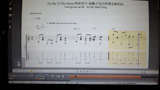 "Fly Me To The Moon-Finger Style Solo Guitar Pro Tab/結他譜 ""Tempo Slow Down Part At 1:33"""