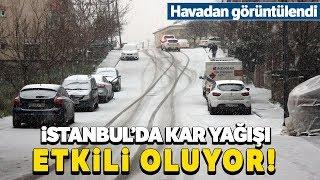 İstanbul'u Kaplayan Beyaz Örtü Havadan Görüntülendi