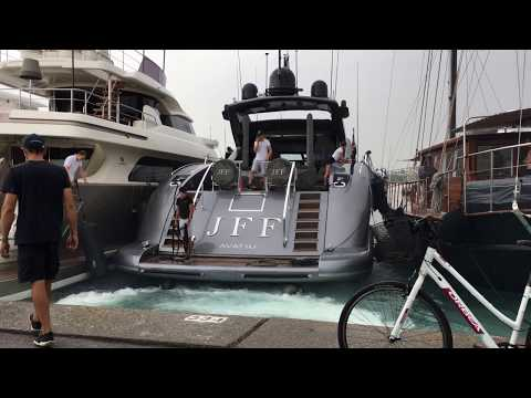 Docking action in Antibes with the Mangusta 108 yacht JFF