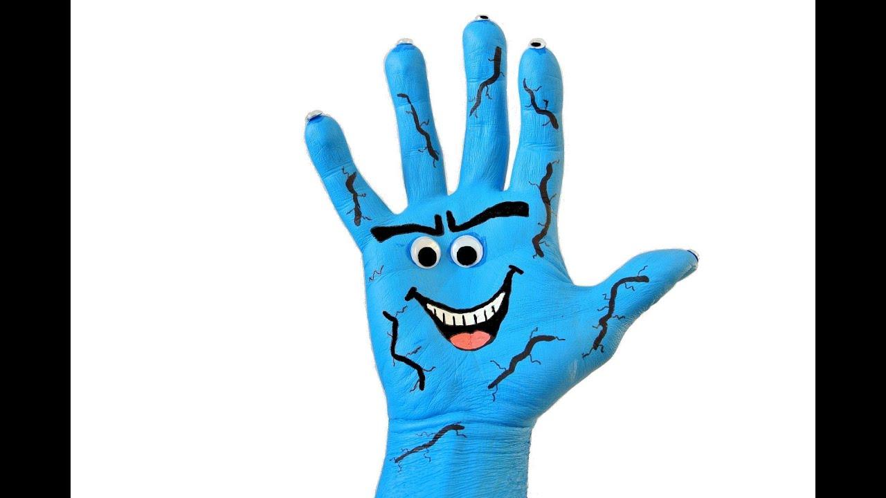 Halloween blue monster painted hand easy diy art for Hand painting art