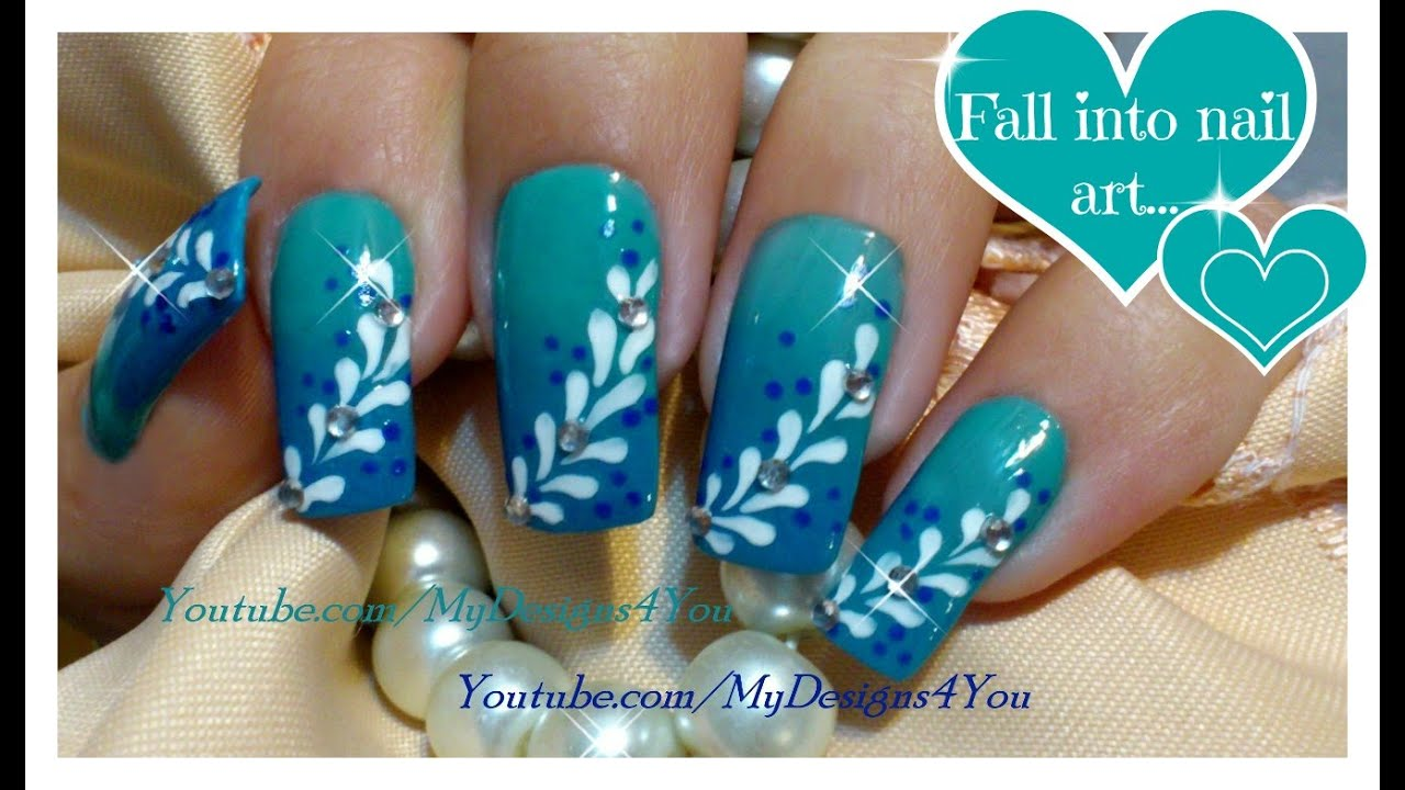 Ombre Nail Art For Beginners | Blue Gradient Nails | Floral Nail ...