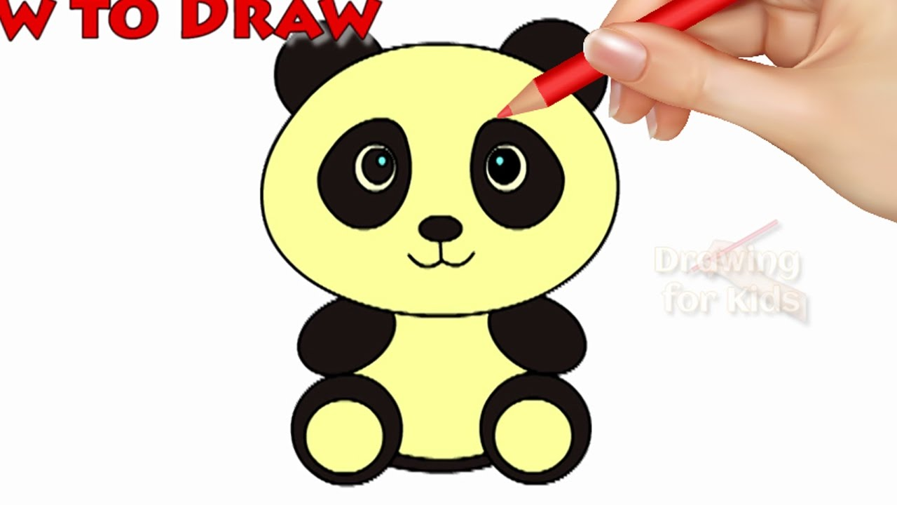 How To Draw A Panda And Colouring Pages Videos For Kids | Smiley Panda Drawing | Learning Videos