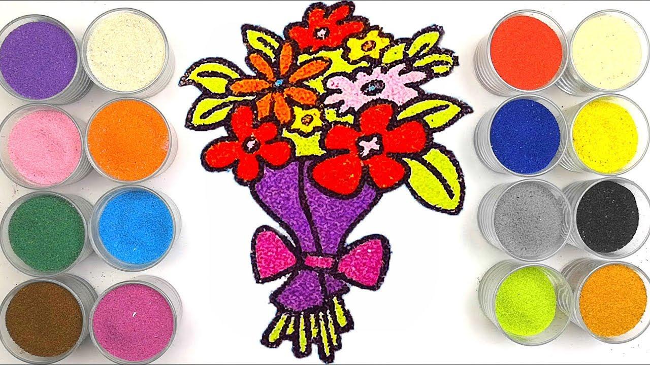 Рисование песком ЦВЕТЫ. Раскраска для детей. - YouTube
