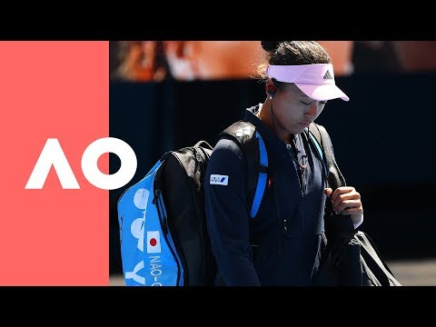 Naomi Osaka and Elina Svitolina on-court warmup (QF)  Australian Open 2019