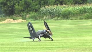 crash of a giant scale folding wing f4u corsair and moki