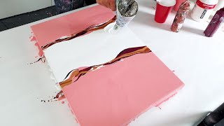 DOUBLE SPLIT ACRYLIC POURING - Sweet, Soft & Warm Fluid painting / Satisfying Art