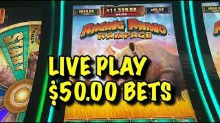 LIVE PLAY $50 BETS - RAGING RHINO RAMPAGE