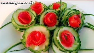 Art In Cucumber Tomato Show - Vegetable Carving Rose Garnish