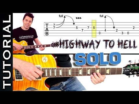 Como tocar Highway To Hell de AC DC SOLO tutorial fácil guitarra eléctrica facil clase