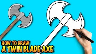 How to draw a Twin Blade Axe - Easy step-by-step drawing tuturial