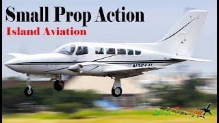 (4) Small Twin Engine Arrivals !!! Cessna 402C, Piper PA-34-200T, BN-2 Islander..@ St. Kitts