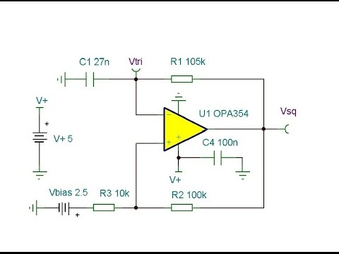 Online Circuit Simulation of a Triangle & Square Wave Oscillator 1kHz