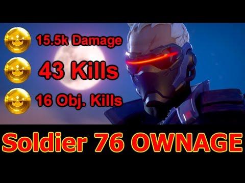 Soldier 76 Massacre - 43 Kills, 15.5k Damage Done, 27 Killstreak (Soldier 76 Gameplay)