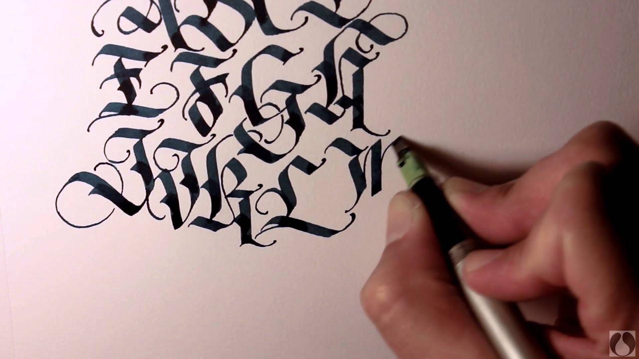 Parallel Pen Calligraphy Upper Case Blackletter Youtube