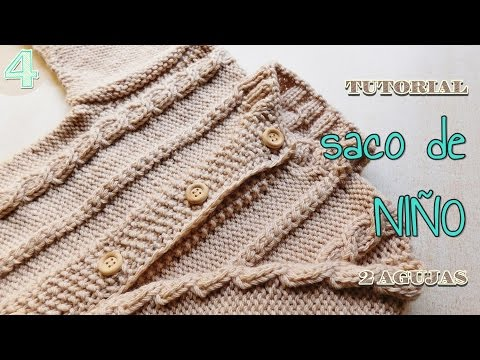 bed5c80a9 Abrigo, campera para niño a dos agujas - Tutorial paso a paso (4 de 4) -  YouTube