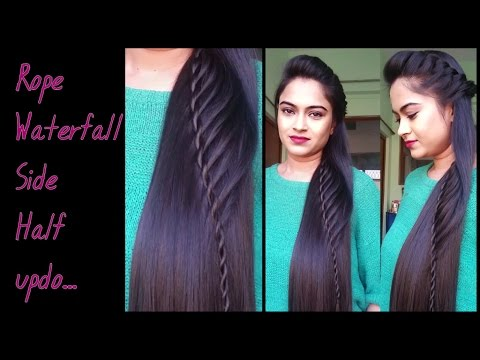 Hairstyles for medium to long hair – Rope waterfall half undo