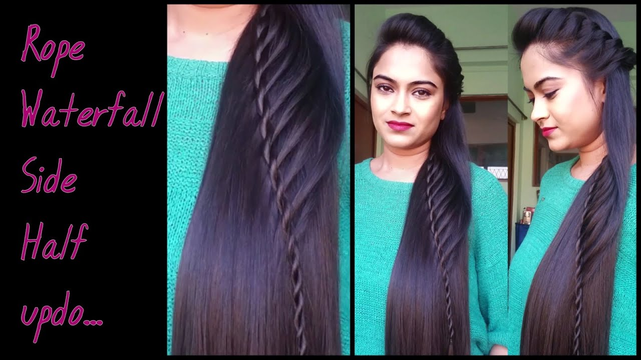 hairstyles for medium to long hair _rope waterfal half updo / indian party hairstyles