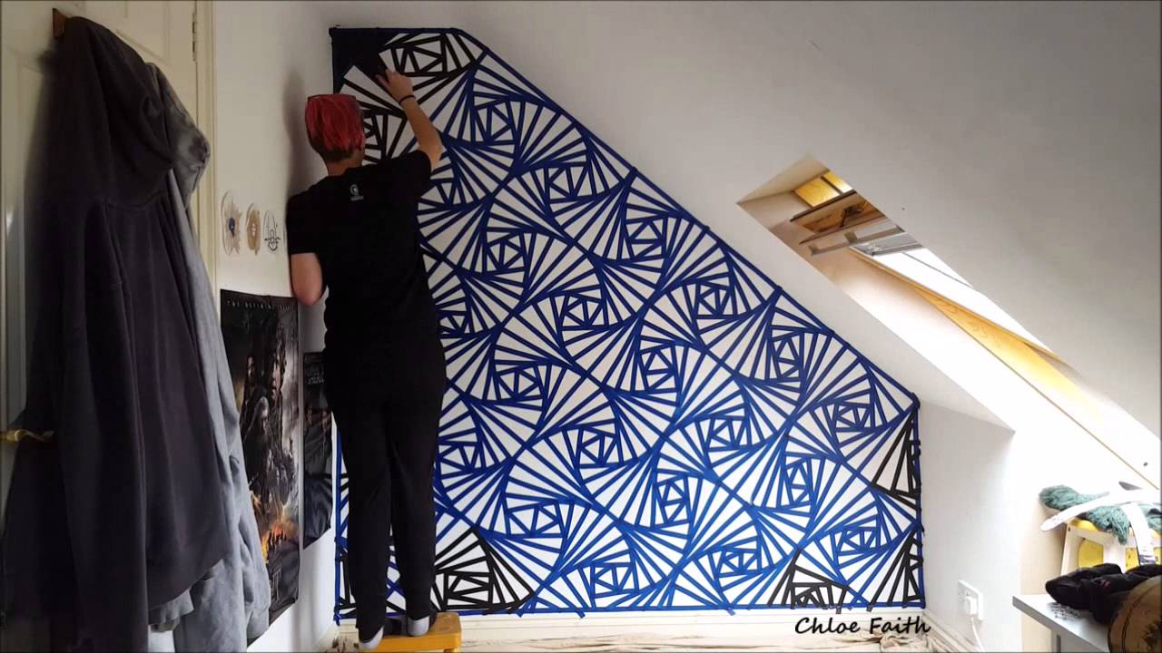 Geometric wall art paint chloe faith youtube Painting geometric patterns on walls