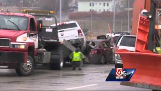 Black ice blamed for massive pileup in Worcester