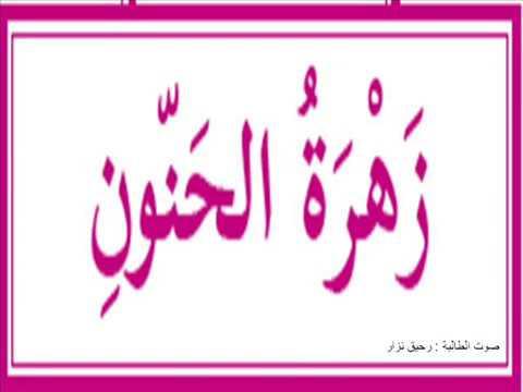 درس زهرة الحنون الصف الرابع بصوت الطالبة رحيق صعابنة