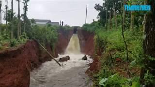 Cảnh vỡ đê kinh hoàng ở hồ Gia Hoét 1, nước đổ cuồn cuộn như thác