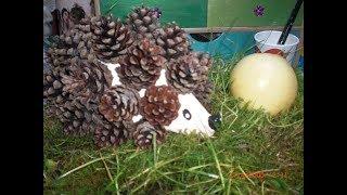 Tolle Herbst Deko - Großer Igel aus Tannenzapfen -  ganz einfach und schnell gemacht
