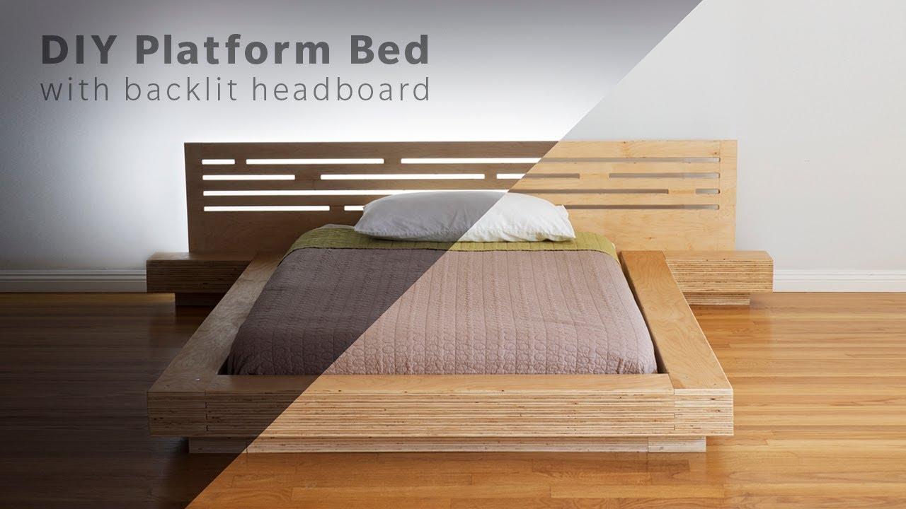 Diy Modern Plywood Platform Bed Part  Frame Nightstand Build Woodworking