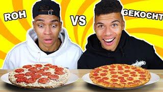 ROHES ESSEN VS GEKOCHTES ESSEN CHALLENGE !!! | Kelvin und Marvin