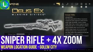 NEW The location of the Sniper Rifle Weapon as well as two weapon mods the holosight and the 4x Zoom in Deus Ex Mankind Divided Useful for playing a
