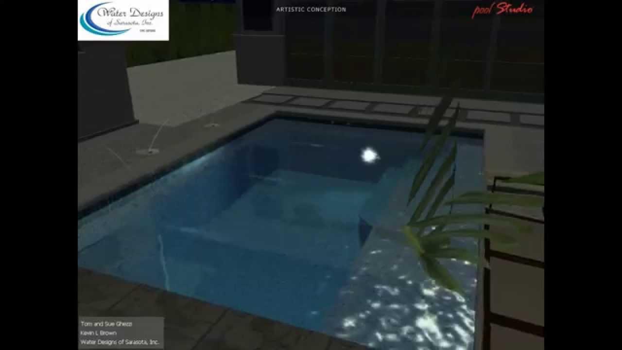 water designs of sarasota courtyard spool with modern pergola