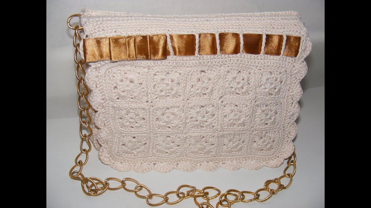 схема вязания сумок крючком из мотивов и их соединение