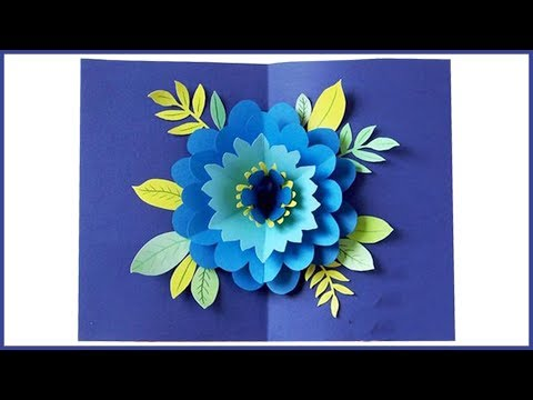 DIY Paper Flowers Greeting | How to make paper flowers | Paper flowers popup Card | diy flower