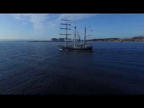 French Tall Ship mouring in Cromarty Harbour,Black Isle Scotland