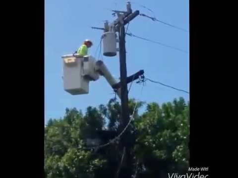 ELECTRICIAN IN A CRANE FIXING BLOWN CABLES  For Kids with Music