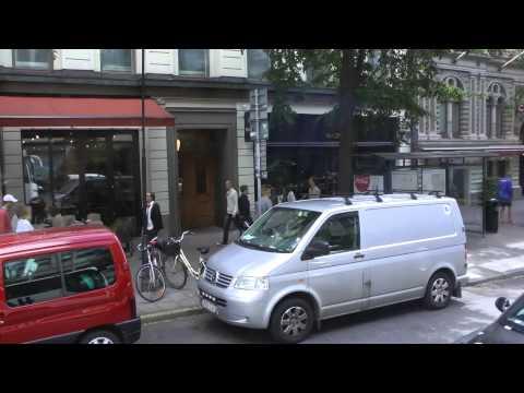 Driving in traffic to Birger Jarlsgatan in Stockholm, Sweden