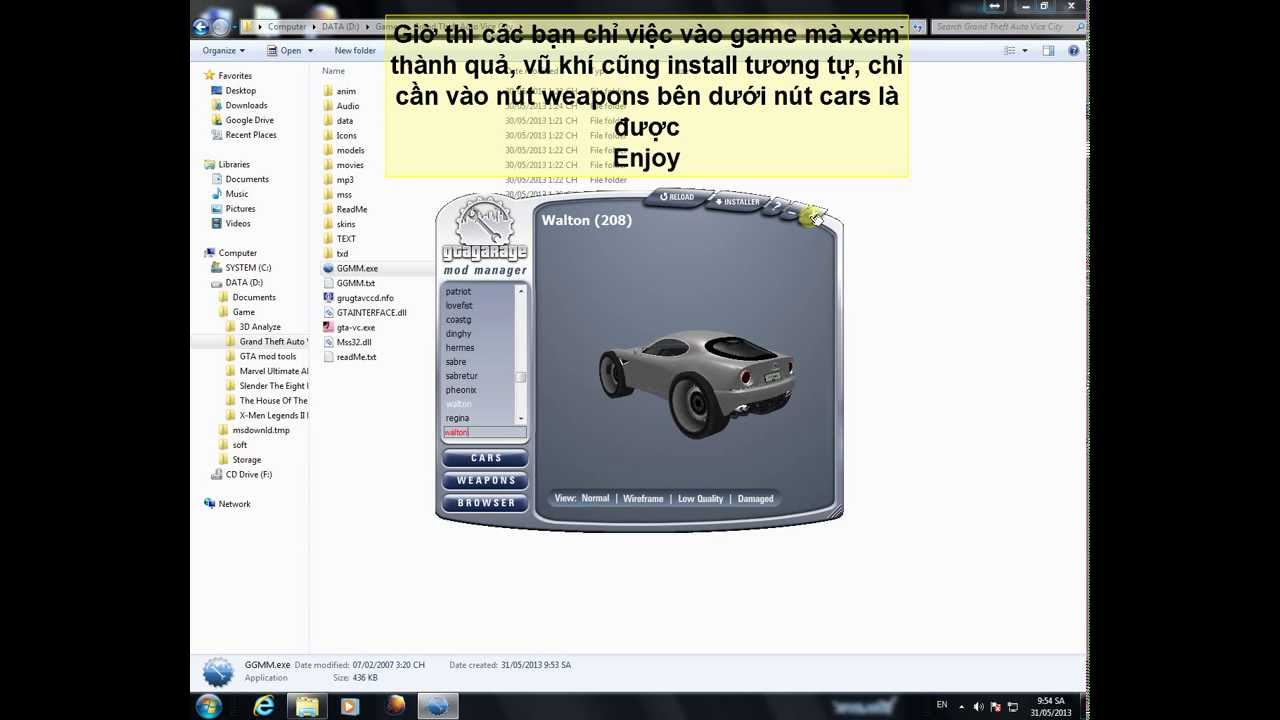 Hướng dẫn install mod xe cho gta vice city bằng gta garage mod.