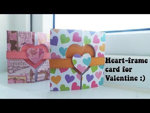 How to make a heart-frame card| Cách làm thiệp ô cửa trái tim xinh xắn