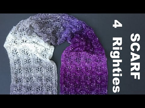 """How To Knit EASY """"Purple Rain"""" Lacy Scarf (4 Righties)"""