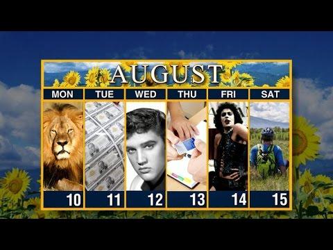 Calendar: Week of  August 10th, 2015