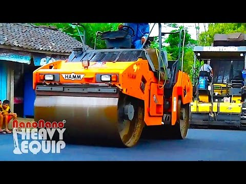 Road Project Paver Sumitomo paving Asphalt with Tandem Hamm and Sakai tire roller