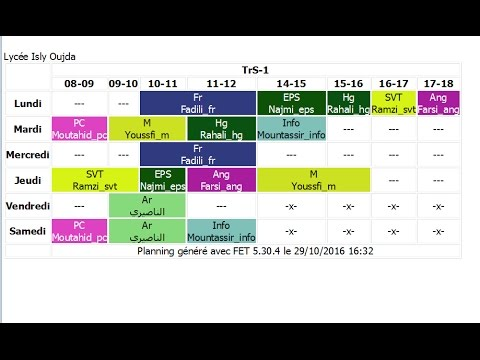 1 - Installation et configuration du logiciel FET timetable (créateur des emplois du temps )