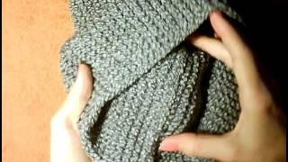 Серый Шарф Снуд Спицами☕❄☀Платочный узор☕❄☀Снуд платочная вязка спицами.Снуд спицами для начинающих.