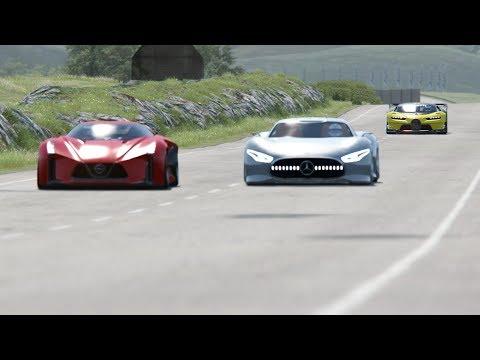 Nissan Concept 2020 Vision GT vs Mercedes-Benz Vision GT vs Bugatti Vision GT