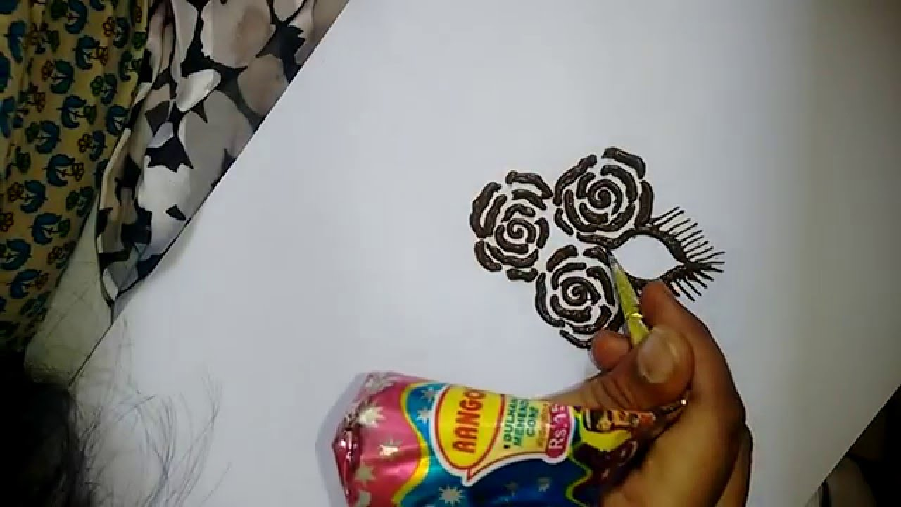 beautiful roses mehndi design for hands-how to do easy roses with ...